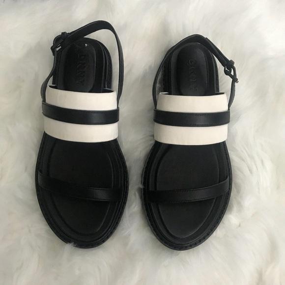 4c90edb171e Dkny Shoes - DKNY striped black   white double strapped slip on
